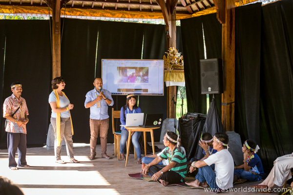 Yayasan Pendidikan Suku Mentawai host a workshop about their cultural education program at the Indigenous Celebration Festival in Ubud, Bali