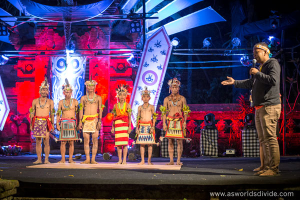 Suku Mentawai Education Foundation's cultural program students and teachers perform at the Indigenous Celebration Festival in Ubud, Bali